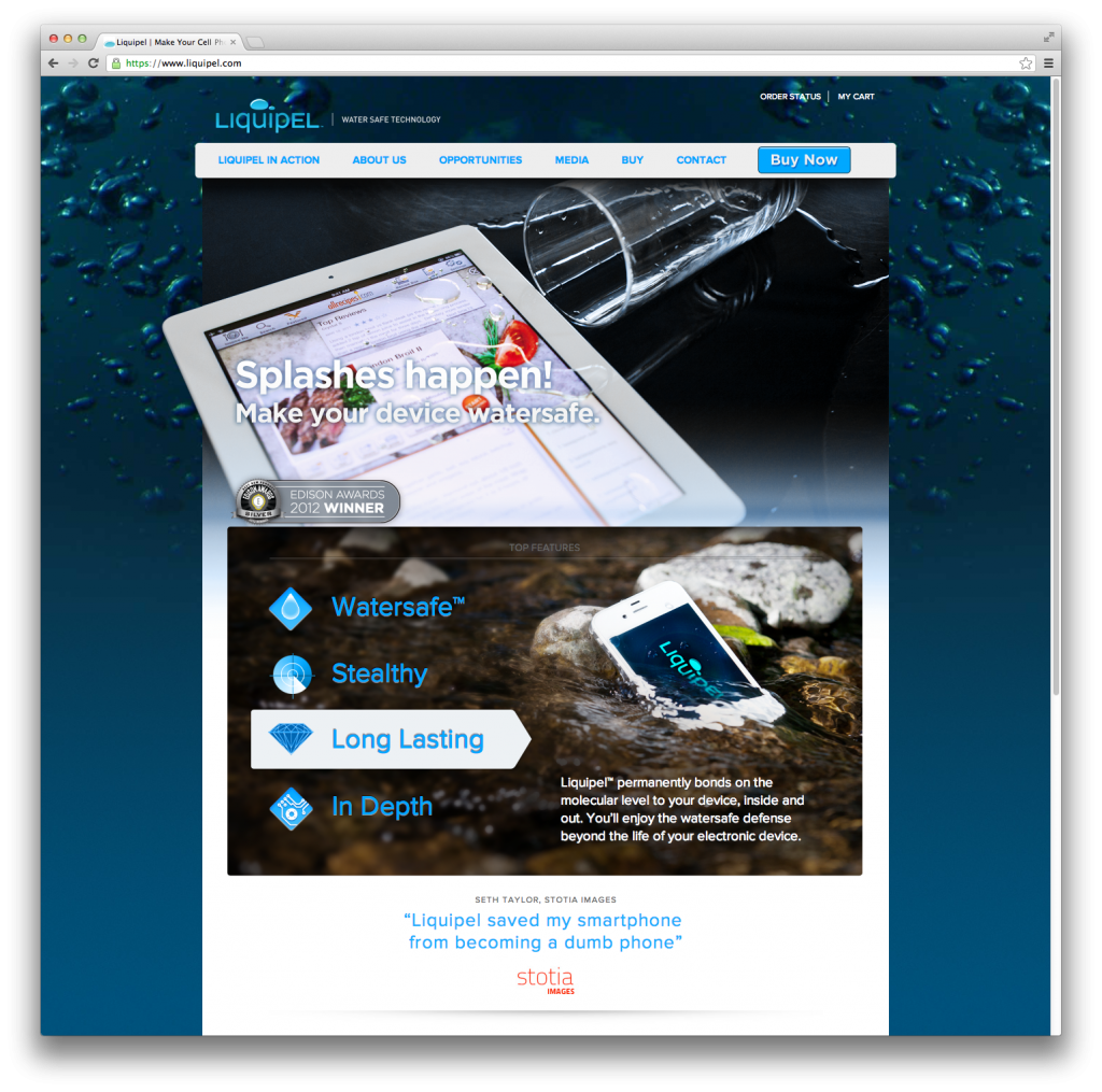 Liquipel Original Website Design