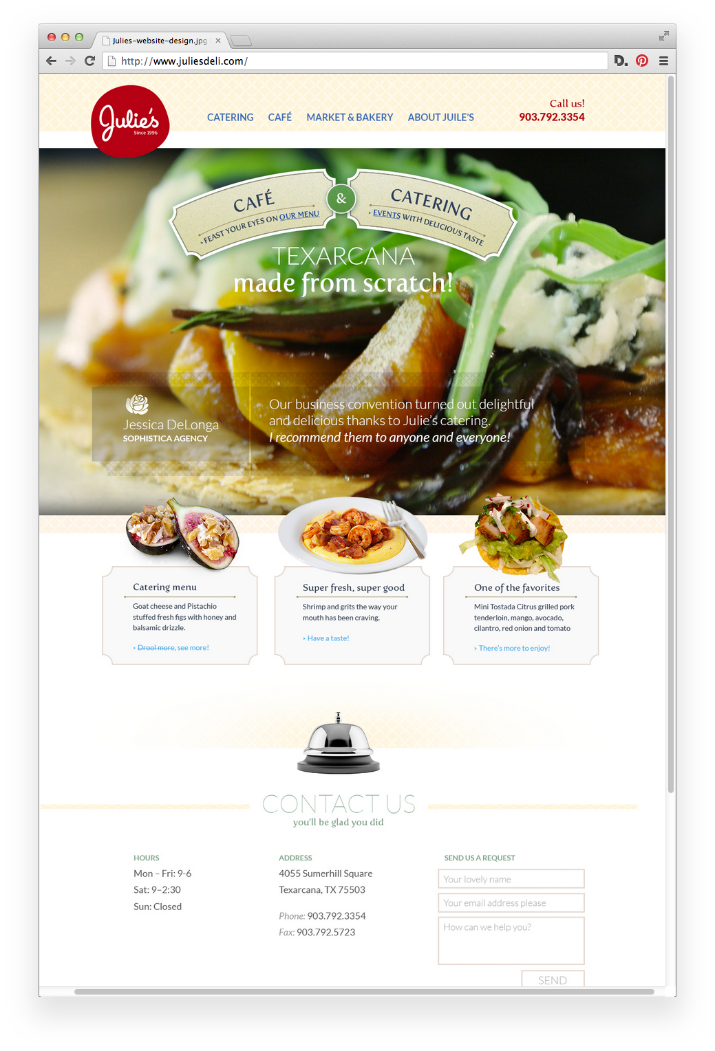 website design for Juile's Deli in Texarcana.
